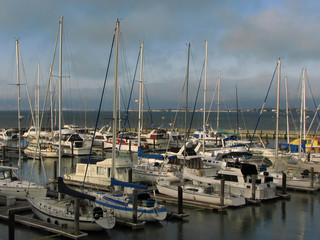 Yachts and leisure boats at Pier 39, San Francisco harbor
