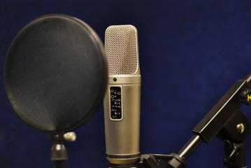 Microphone in small broadcastion station