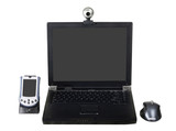Laptop with a webcam, a PDA and a mouse isolated on white poster