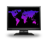 lcd screen with colorful world map, gentle shadow in front poster