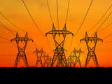 3D Electric powerlines over sunrise poster