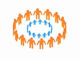 Logotype blue circle in orange big circle poster