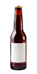 A close up on a brown beer bottle isolated  with a blank label.