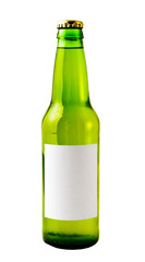 A close up on a green beer bottle isolated on white.