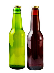 A close up on a beer bottles isolated on a white background.