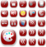 Icons. The ruby red Digital Art, Media & Communication Set. poster