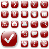 Button icons. The ruby red Website Navigation Collection. poster
