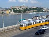 Budapest tram beside Danube poster