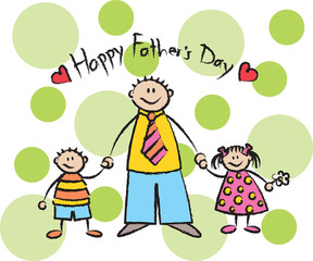 Happy Father's Day - light skin tone family