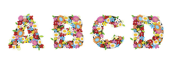 ABCD spring flowers - illustration / part of a full alphabet set