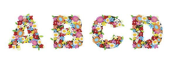 ABCD spring flowers - illustration / part of a full alphabet set