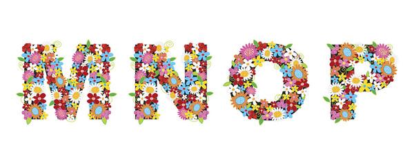 MNOP spring flowers - illustration / part of a full alphabet set