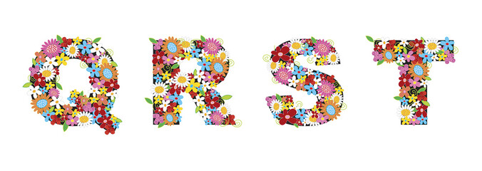 QRST spring flowers - illustration / part of a full alphabet set