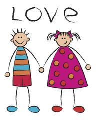 boy + girl = love on white - cartoon illustration