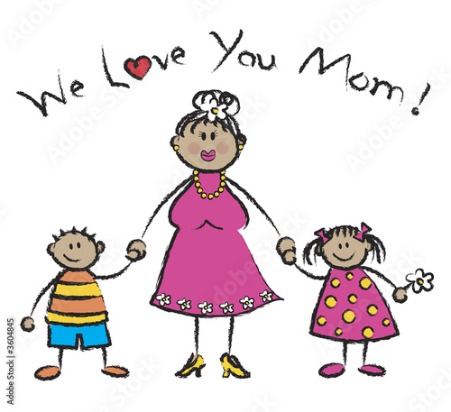 We Love You Mom - family in tan skin tone