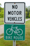 No motor vehicles sign at the begining of a bike trail poster