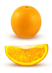 Fresh orange over white with clipping path included