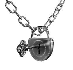 Silver lock with key and chain isolated with clipping path