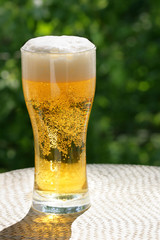 Beer mug at the table close-up, background is out of focus