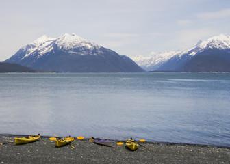 Snow capped mountains near Haines Alaska