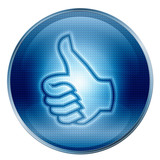 thumb up icon, approval Hand Gesture, ( With Clipping Path ) poster