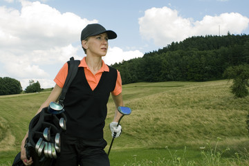 golf player with a bag