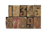 old, inkstained wood type numbers