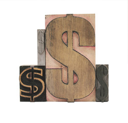 four wood and metal dollar signs