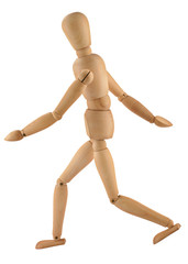 close-up of a running wooden figure isolated on white