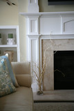 Modern fireplace corner in a cozy home, neutral colors poster
