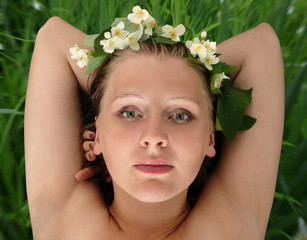 young beautiful blond in jasmin diadem,  contains clopping path