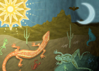 Day to night desert illustration with lizards, frog, and coyote
