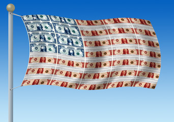 Wavy American flag made of dollar bills on pole with blue sky