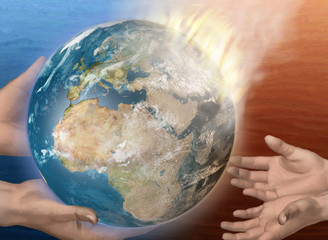 Flaming earth being handed from adult hands to child hands