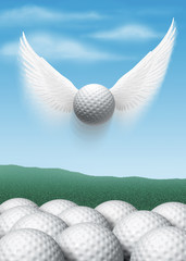 Golf ball with wings flying up into sky above regular golf balls