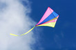 kite flying against a blue sky, bright colors and streaming tail
