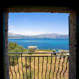 Beautiful view from a window overlooking the Croatian Islands poster