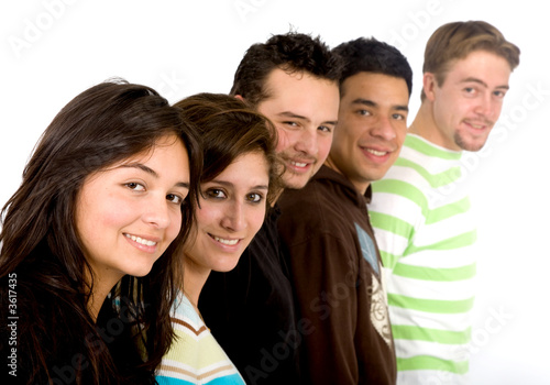 Casual group of people smiling - isolated