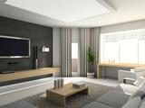Fototapety Modern interior. 3D render. Living-room. Exclusive design.