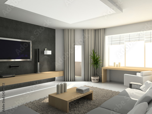 Contemporary Living Room Design on Modern Interior  3d Render  Living Room  Exclusive Design     George
