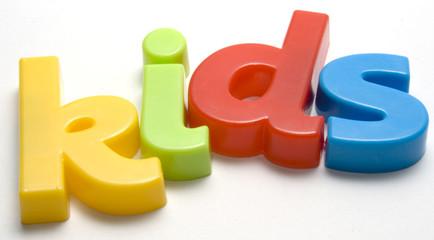 Kids spelt in colourful lettering