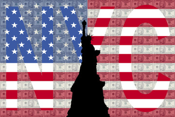Statue of Liberty NYC against American flag and currency