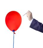 Balloon burst against white background poster