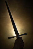 Medieval spanish sword silhouette at backlighting poster