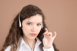 Customer service girl isolated on beige background poster
