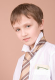 Young businessman portrait isolated on beige poster