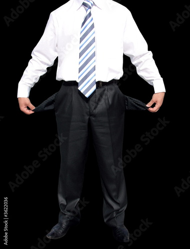 Bankrupt. Businessman with empty pockets (with clipping paths) .