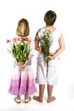 kids are giving you flowers by surprise poster