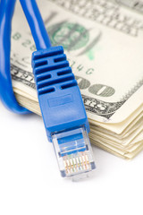 Network Connection Plug and dollars, concept of online business