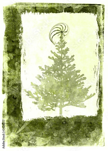 Grunge christmas card - green